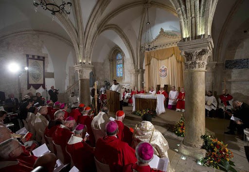 JERUSALEM: Pope Francis (unseen) celebrates the Holy Mass at the site known as the Cenacle, or Upper Room, AFP PHOTO/ POOL/ ANDREW MEDICHINI