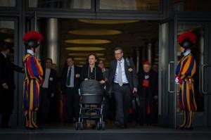 Patricia and Massimo enter synod hall