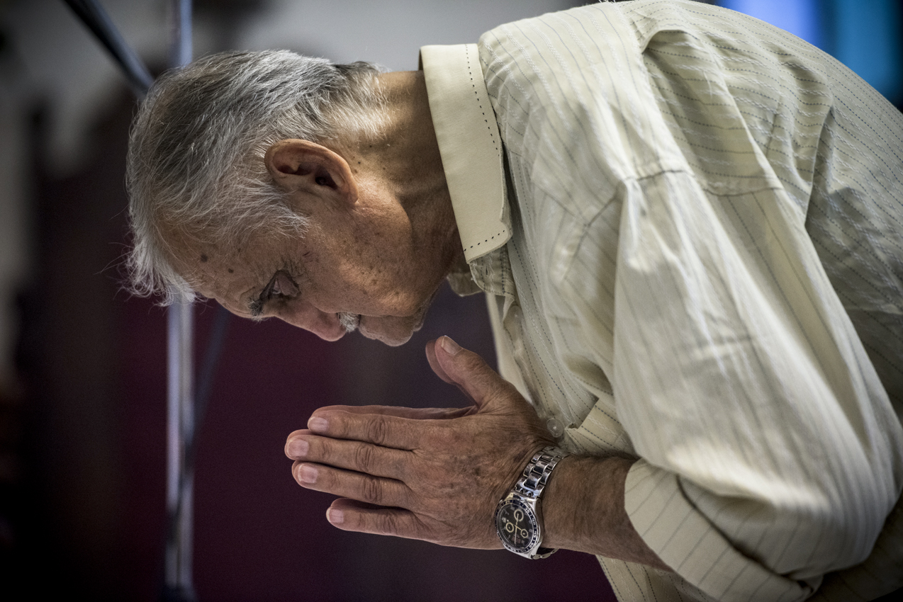 AMMAN,JORDAN : An Iraqi refugee man genuflects at the elevation of the Eucharist at a special Mass celebrated by Father Nabil Haddad for the refugee community who reside within the Parish community of St George in Amman,Jordan after fleeing with there families from ISIL forces. Jordan has provided safe haven to many fleeing persecution for their Christian Faith as a result of their inclusive attitude. JEFFREY BRUNO/ALETEIA
