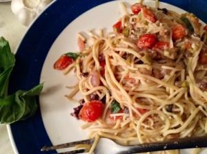 food blog spaghetti puttanesca