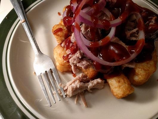 pulled pork on potato puffs