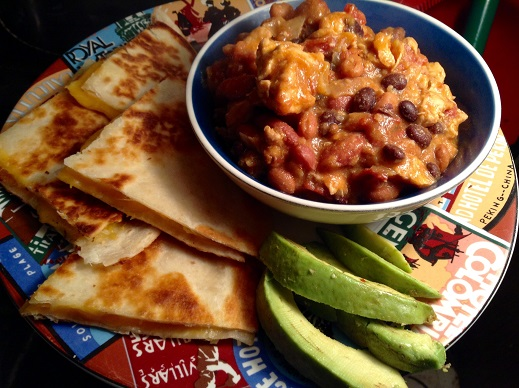 quesadillas and chili