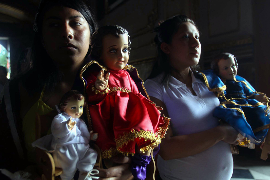 One of the large practices in Mexico is to dress up dolls representing Baby Jesus and present Him at the local Church as a reenactment of the Presentation at the Temple.
