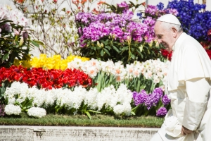 Pope Francis walks past flowers - March 30, 2016