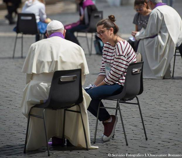 Pope hearing confessions today in St. Peter's Square for Teen Jubilee/Zenit, Facebook
