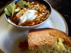 tortilla soup and corn bread