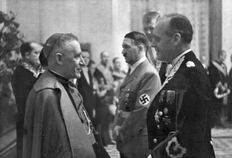 Cesare Orsenigo, Pius XII's nuncio to Germany throughout World War II, with Hitler and Joachim von Ribbentrop.