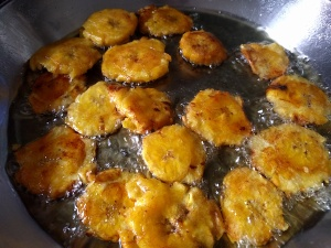 fried plantains frying