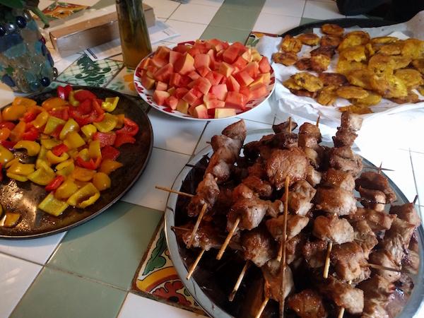 pork shishkebab fried plantains