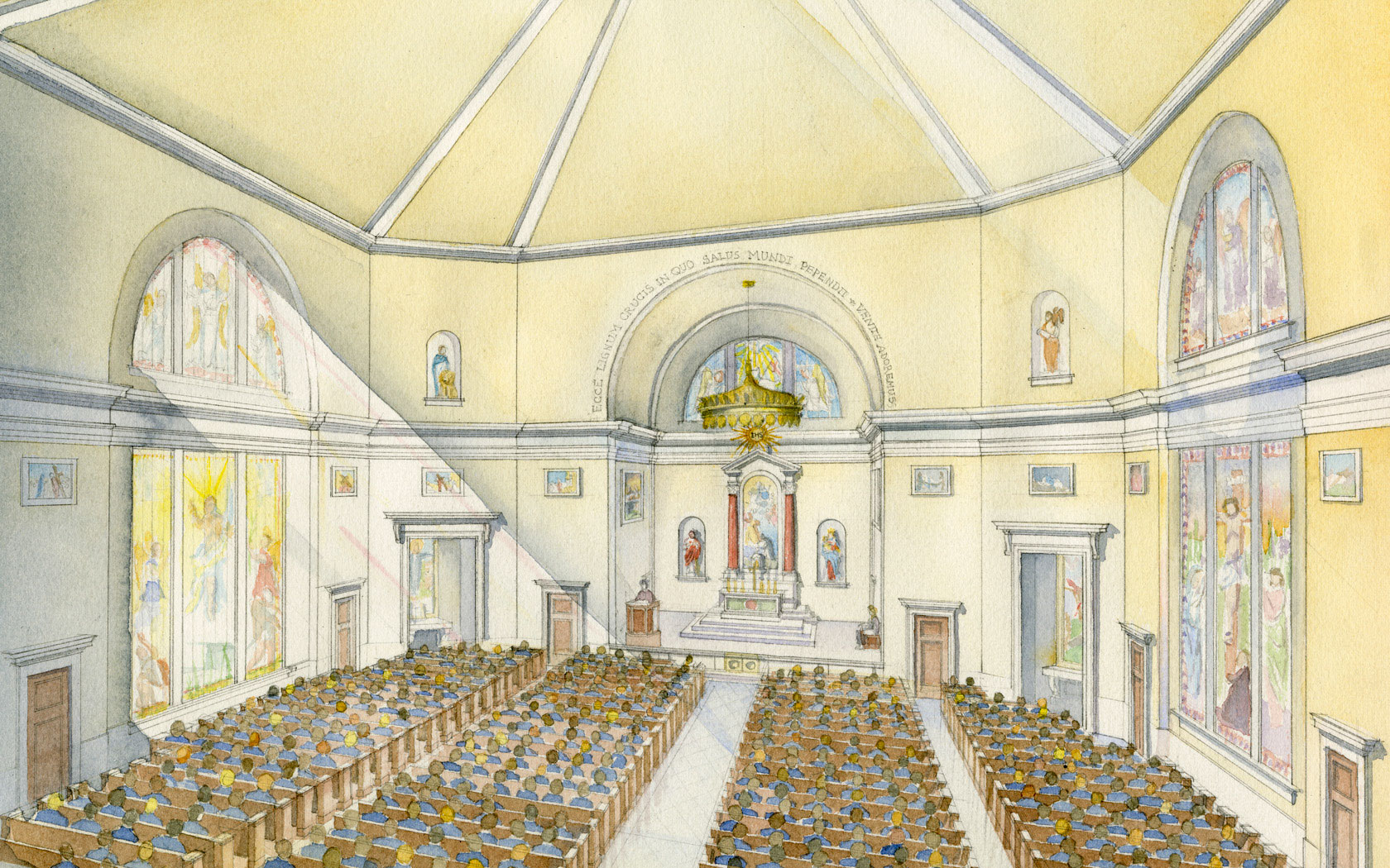 """CHAPEL OF THE HOLY CROSS, Tampa, Florida. Jesuit High School, founded in Tampa, Florida in 1899, moved to its current campus in 1956 to continue educating young men in the Jesuit tradition. The Chapel of the Holy Cross, to be dedicated in 2017, is a brick and limestone chapel inspired by the Jesuit tradition and by the centralized form of the existing Saint Anthony's Chapel. It is designed to seat 900 and will provide a transcendent space for the Holy Liturgy and for daily convocations of the student body. The facade is composed of a limestone Doric portico and niches to accommodate Saint Ignatius of Loyola and Saint Francis Xavier. The interior stained glass windows are related to the passion and the shedding of blood. The four corner shrines are dedicated to Jesuit martyrs: Saint Isaac Jogues, Saint Edmund Campion, Blessed Miguel Pro, and Saint Paul Miki, and the inscription over the sanctuary arch is taken from the liturgy on Good Friday: """"Ecce lignum crucis in quo salus mundi pependit - Venite adoremus.""""  Above the tabernacle altar is a painting of the scene at La Storta, where Saint Ignatius received a vision of God the Father and Christ holding the cross and was told by Christ """"Ego tibi Romae propitius ero."""""""