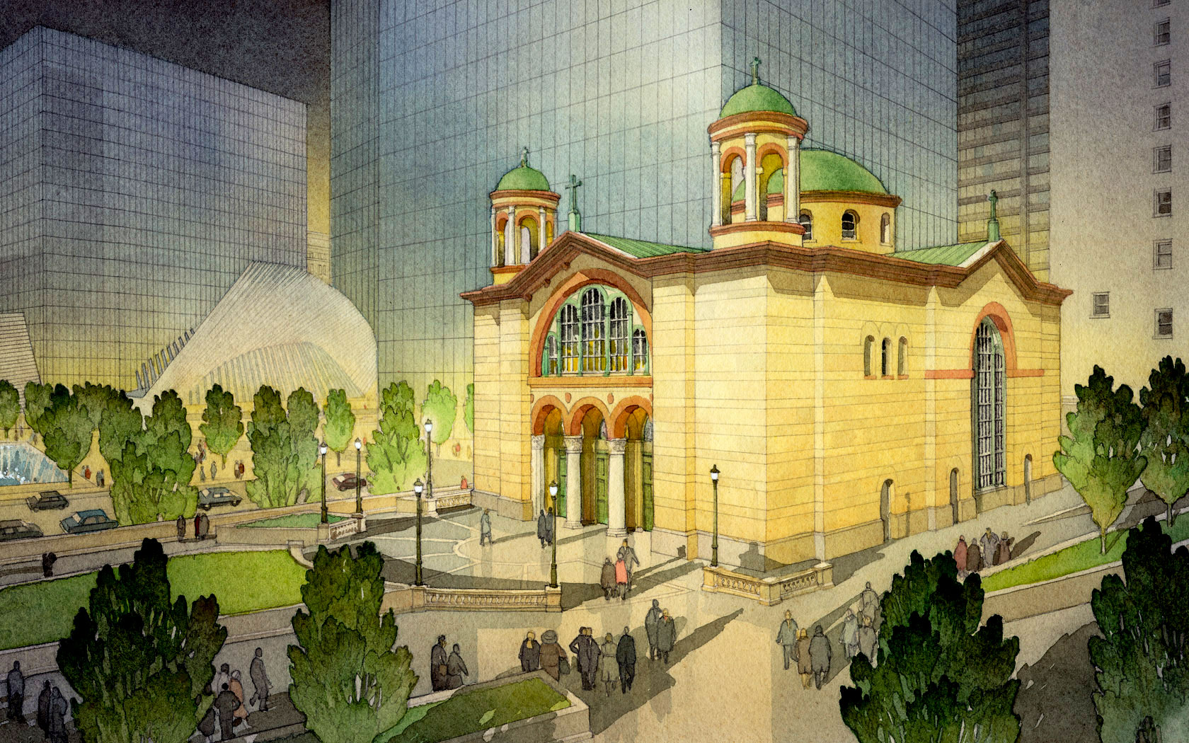 ST NICHOLAS GREEK ORTHODOX CHURCH, New York, New York. Located adjacent to the World Trade Center in New York City, St. Nicholas Greek Orthodox Church was destroyed in the September 11, 2001 terrorist attacks, the only house of worship to be destroyed. Duncan Stroik was one of eight architects invited to submit a design for the private design competition. The goal of the design was for this church to be an expression of faith and a memorial for the fallen.