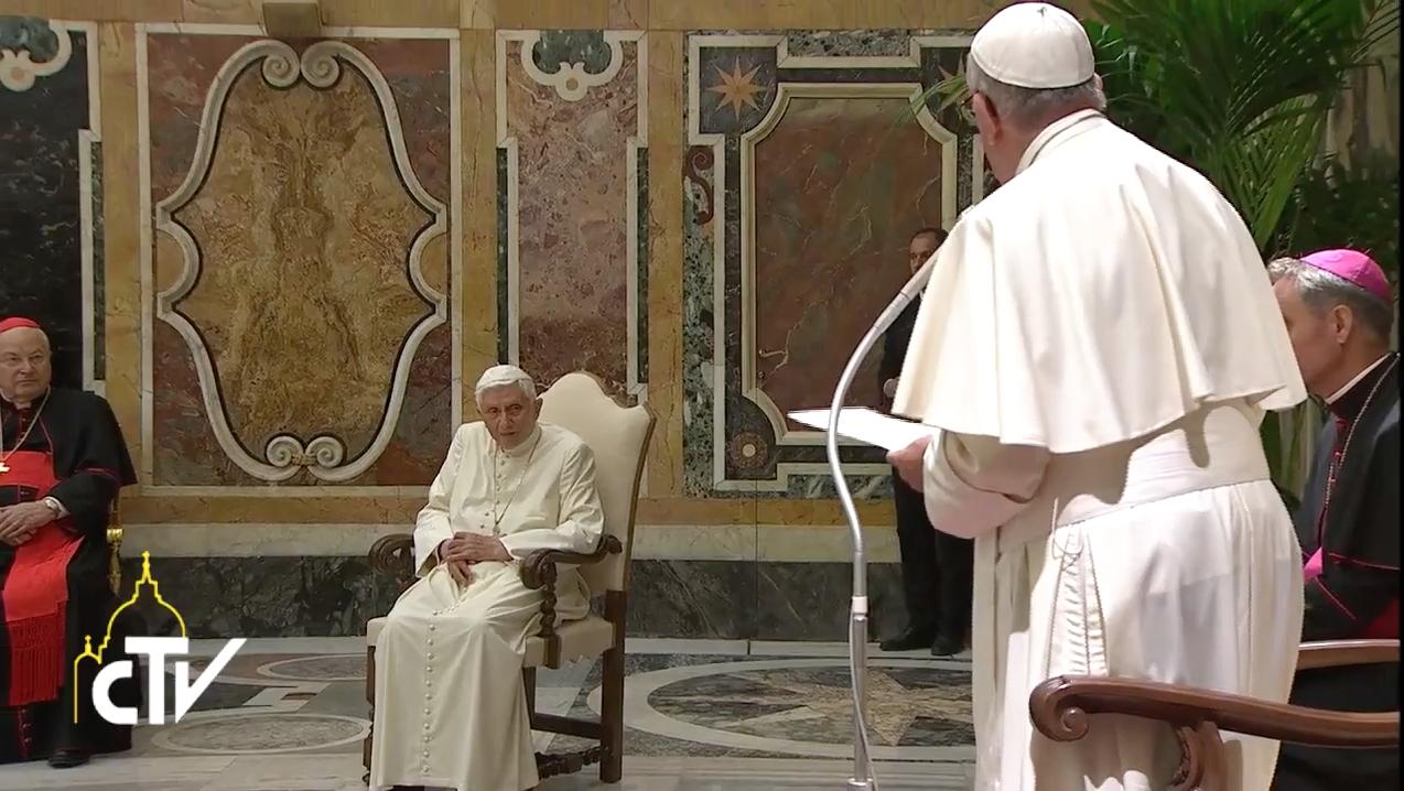 Pope Francis addressed Pope Benedict