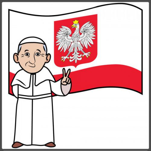 pope peace poland emoji framed