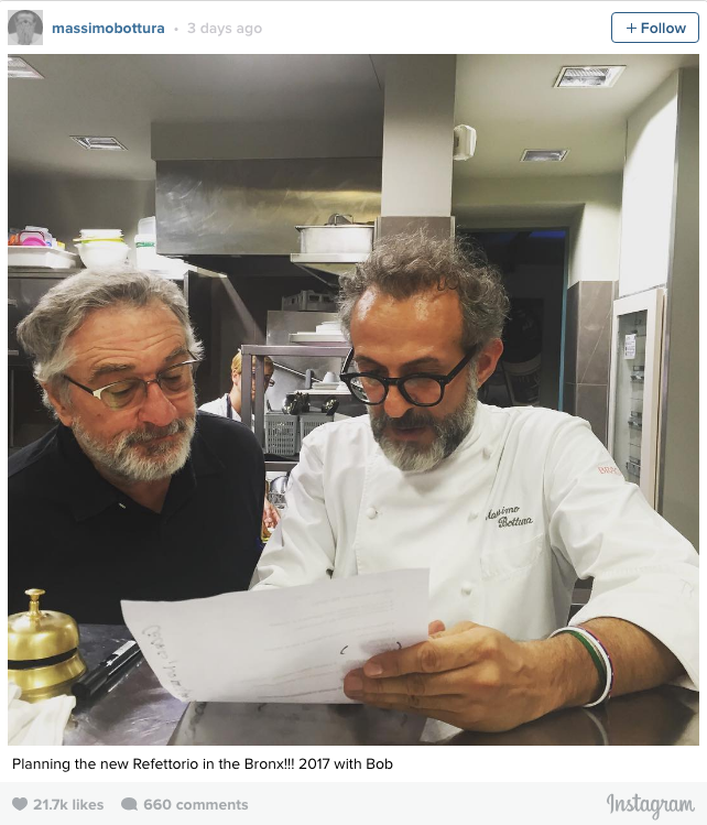 The chef is directing his new efforts towards the Bronx, in New York, where he is working on a new venture: the Refettorio Ambrosiano, a soup kitchen, which he will open in partnership with Robert DeNiro and the Italian Consulate in New York.