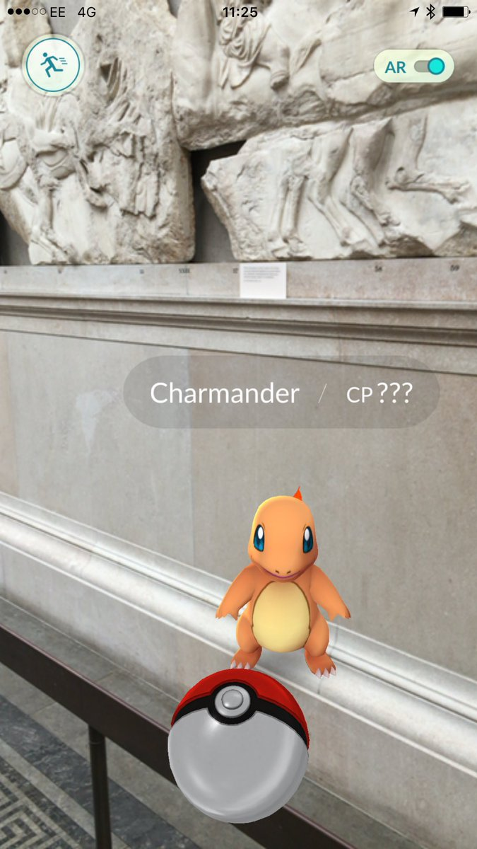 Charmander (another Pokemon) can be hunted by the famous Elgin Marbles, the marble friezes of the Parthenon, at the British Museum.