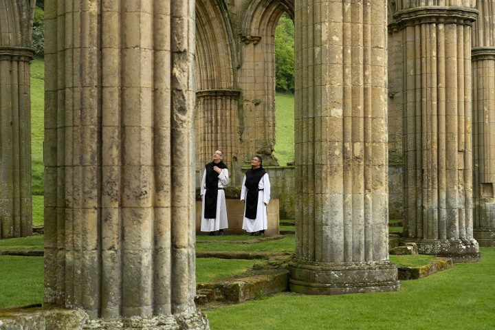 Now, about 500 years later, we can see Cistercian monks, Father Joseph and Brother Bernard, visiting the ruins of one of these great abbeys: the Abbey of Rievaulx.