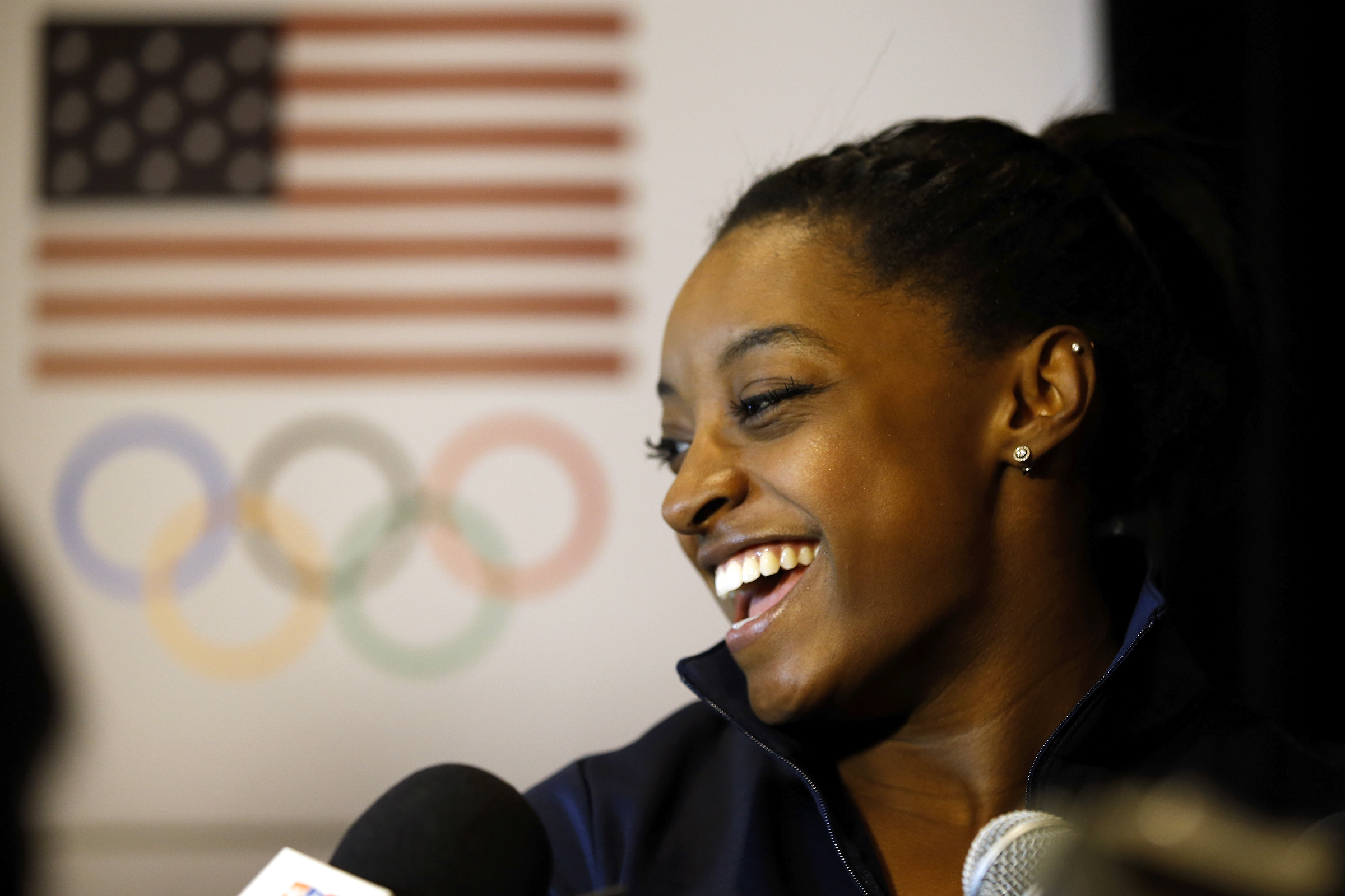 BEVERLY HILLS, CA - MARCH 07: Gymnast Simone Biles addresses the media at the USOC Olympic Media Summit at The Beverly Hilton Hotel on March 7, 2016 in Beverly Hills, California.   Todd Warshaw/Getty Images for the USOC/AFP