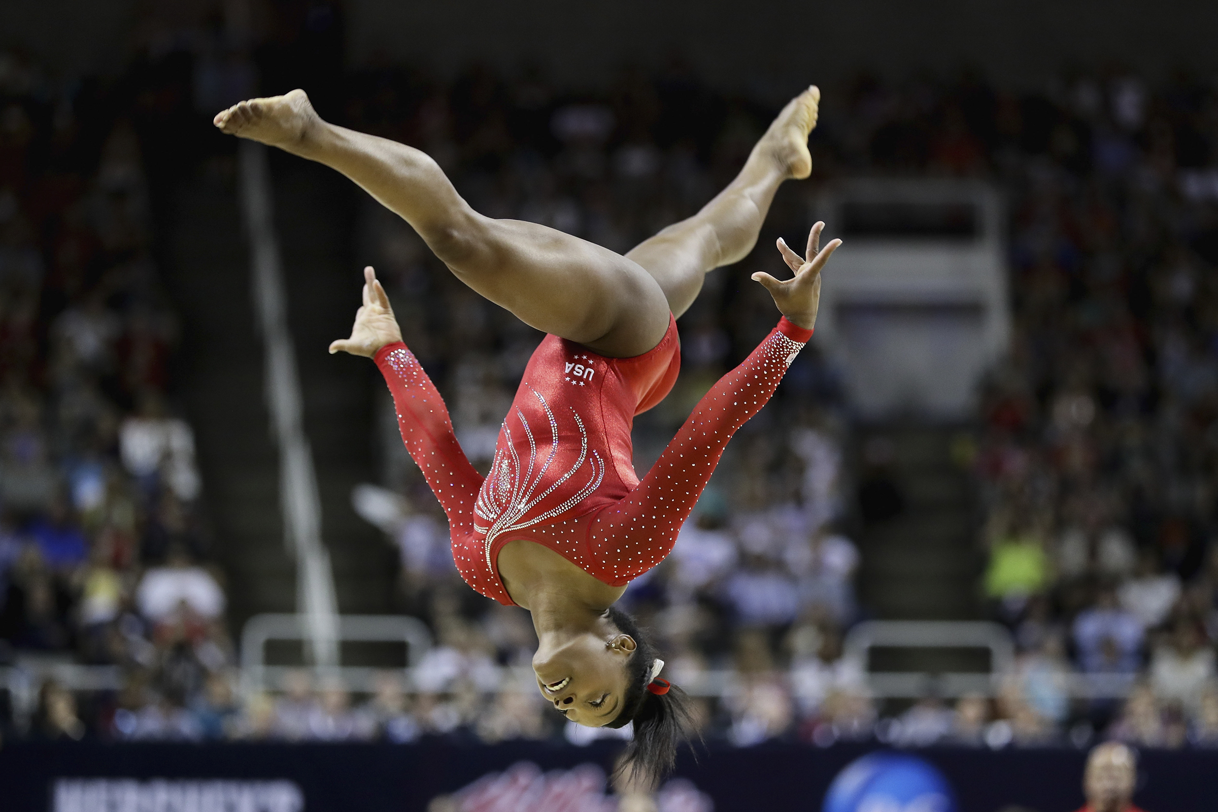 SAN JOSE, CA - JULY 10: Simone Biles competes in the floor exercise during Day 2 of the 2016 U.S. Women's Gymnastics Olympic Trials at SAP Center on July 10, 2016 in San Jose, California.   Ezra Shaw/Getty Images/AFP