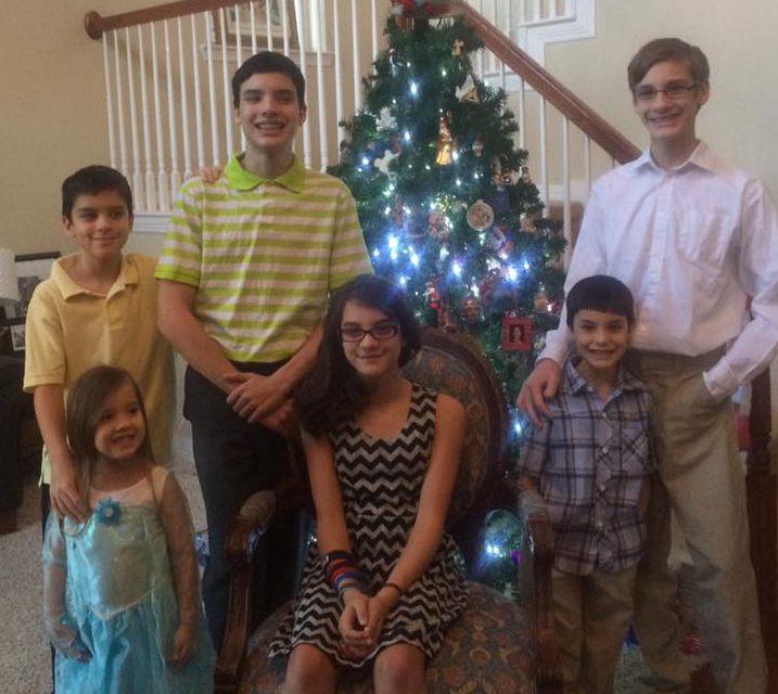 Frech kids: (clockwise from tree) Lincoln, 15;  Bob, 7; Ella, 12; Josephine, 4; Cullen, 9; Ben, 16