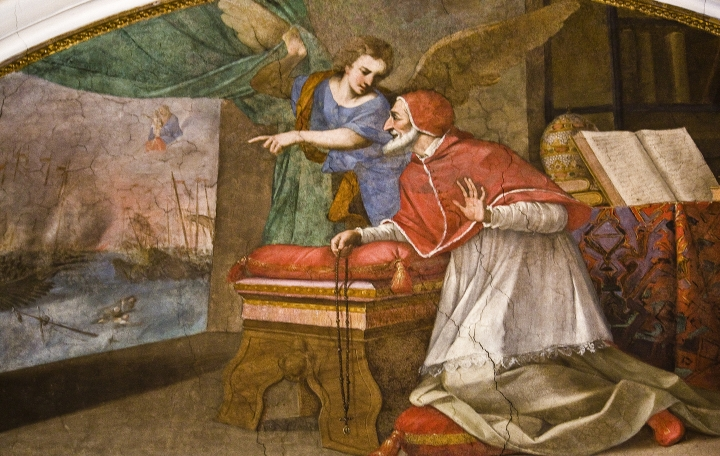 Fresco of the Dominican Pope, St Pius V, praying the Rosary during the Battle of Lepanto