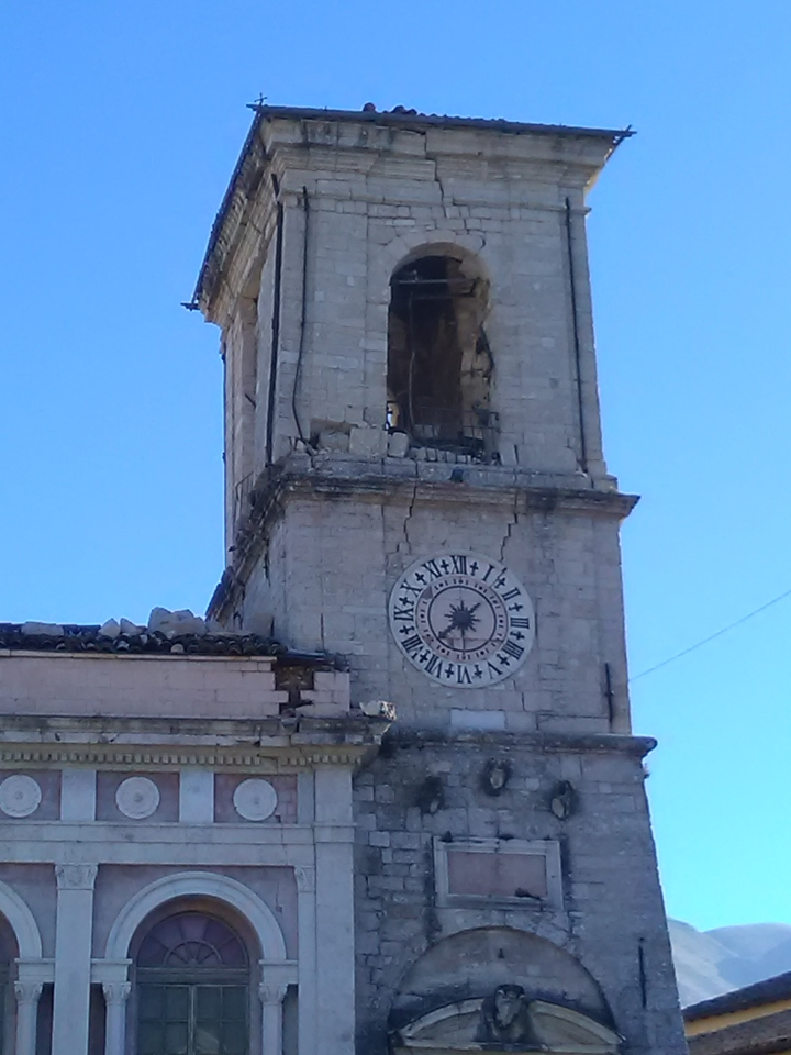 Close-up, Norcia town hall after October 20 earthquake
