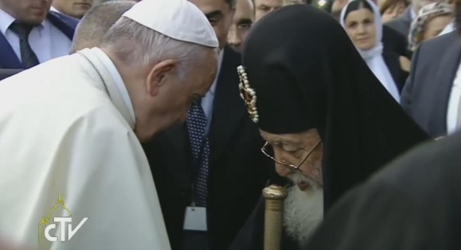Pope Francis and Georgian Orthodox Patriarch Illia II meet at the Orthodox cathedral in Tbilisi