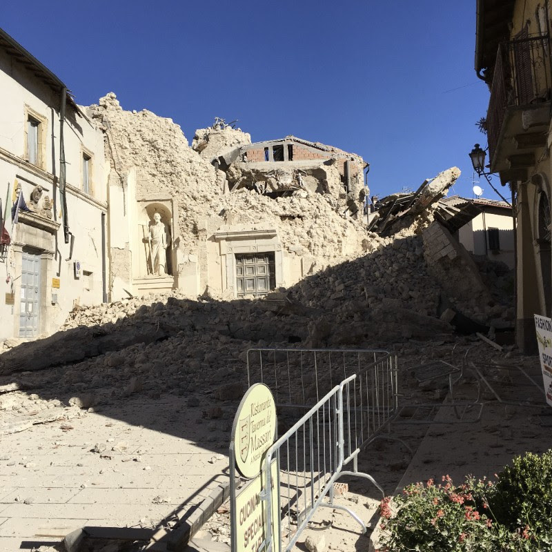 The Church of the Madonna Addolorata in Norcia, Italy, devastated by Sunday's 6.6 earthquake