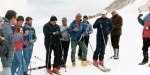 7/17/1984-Adamello Mountain, Italy: The Pope says a prayer, flanked by ski instructors, before beginning a run, 7/17.