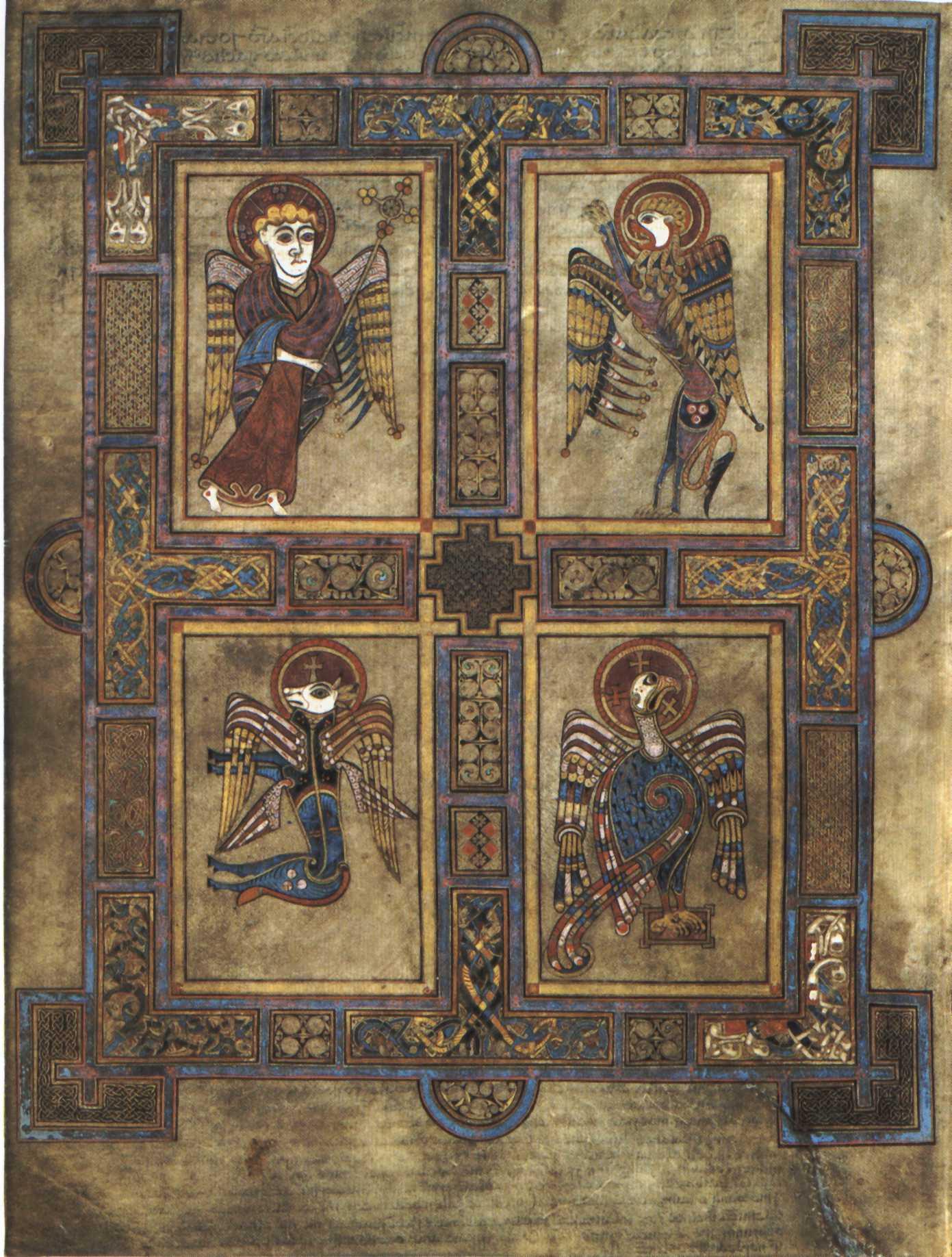 The Tetramorph of the Book of Kells, VIII century.