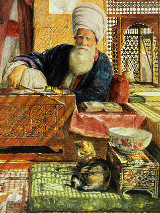 Cat resting on a pillow next to an imam in Cairo, by John Frederick Lewis.