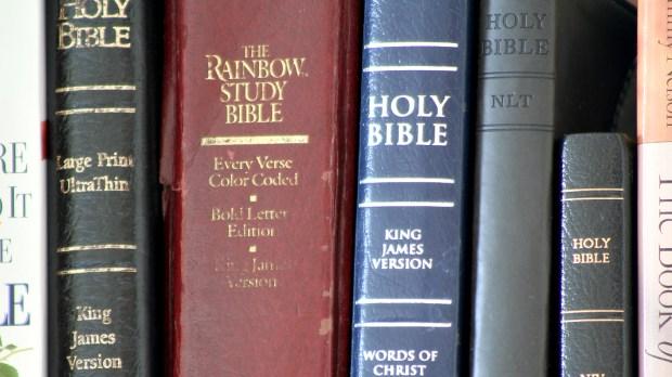 BIBLES ON A SHELF