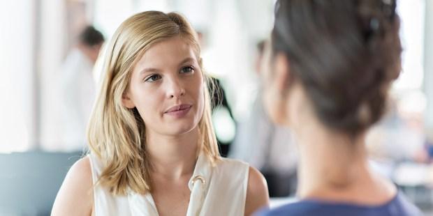 WOMEN HAVING A SERIOUS CONVERSATION