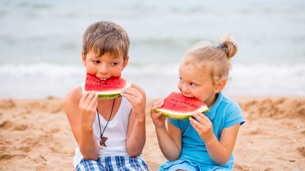 KIDS,WATERMELON,BEACH