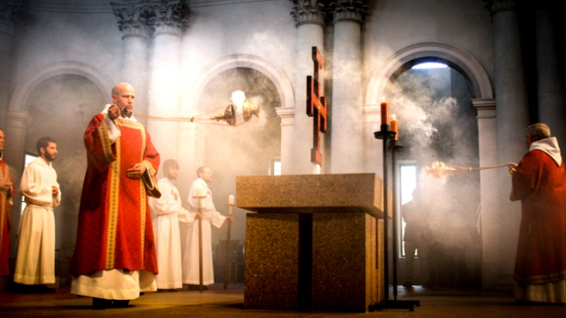 PRIEST AT MASS,ALTER,INCENSE