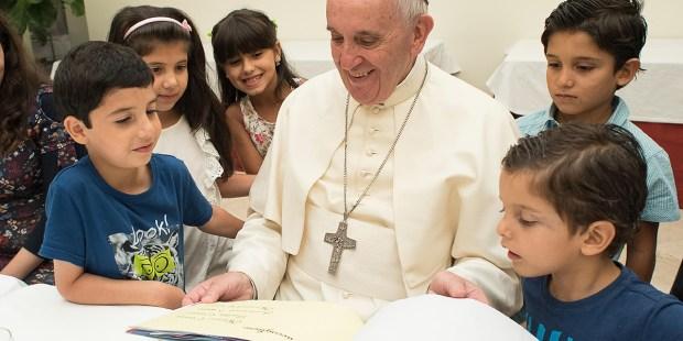 POPE FRANCIS VISITS REFUGEE CHILDREN