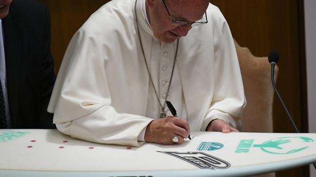 POPE FRANCIS;SURFBOARD