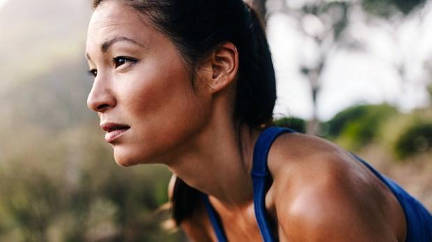 Focused Woman Exercising