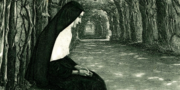 NUN SITTING ON BENCH,FOREST