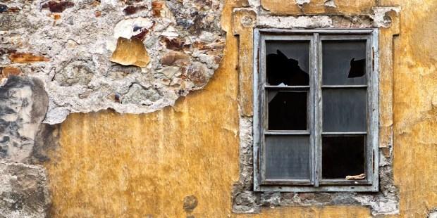 BROKEN WINDOW, YELLOW WALL, ABANDONED BUILDING