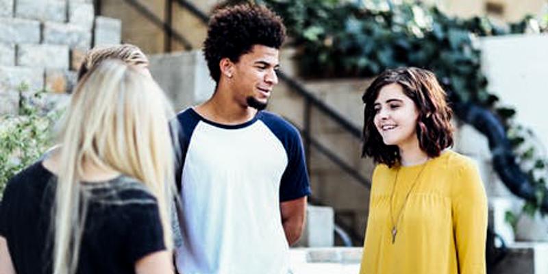 TEENAGERS SPEAKING IN PUBLIC GROUP