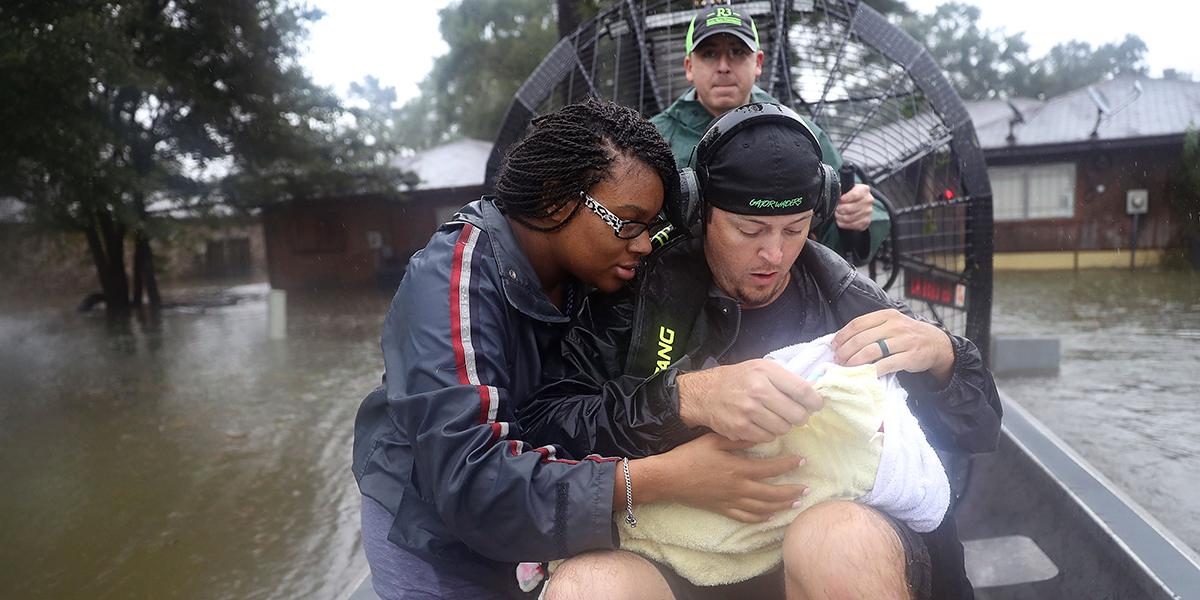 COUPLE,CHILD,HURRICANE HARVEY
