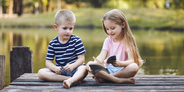 Boy and Girl on Lake