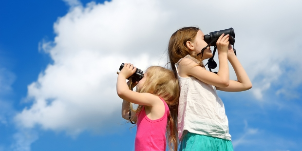 Children Looking Through Binoculars