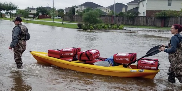 Pizza Hut Delivers during Harvey
