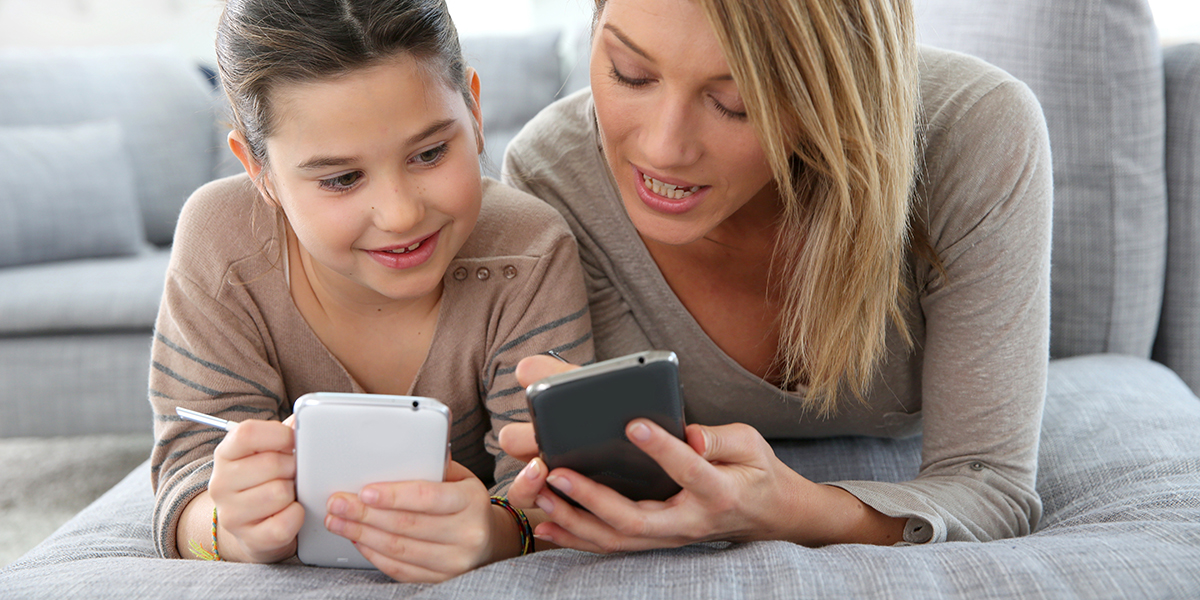 Mom and Daughter on Phones