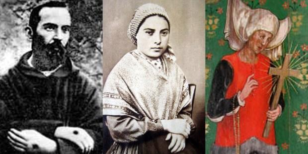 PADRE PIO,BERNADETTE OF SOUBIROUS,ST JULIAN OF NORWICH