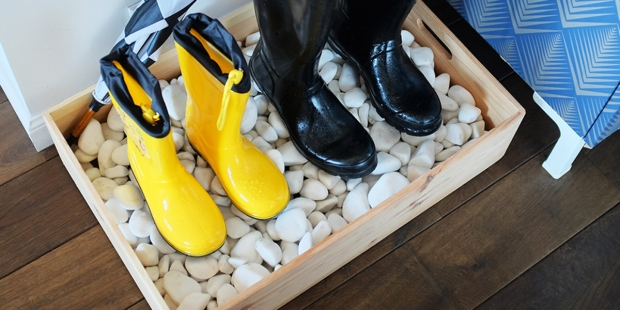 DIY Rain Boot Pebble Box