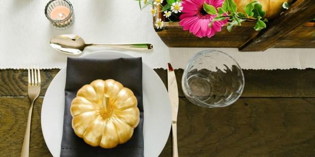 Gold Pumpkin Table Setting