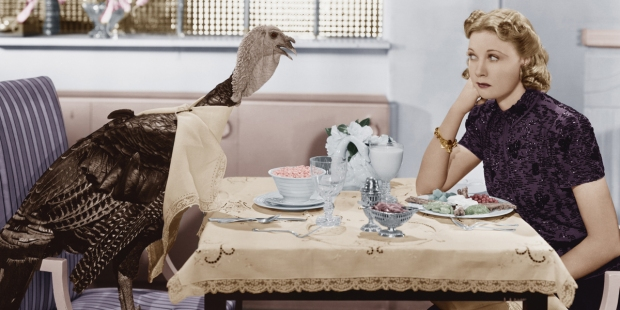 WOMAN,DINNER,LIVE TURKEY