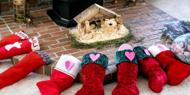 CHRISTMAS STOCKINGS,NATIVITY SCENE
